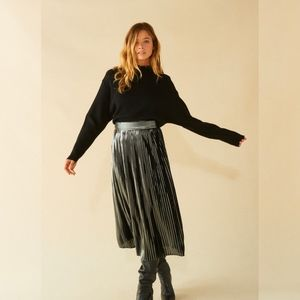 NWT BA&SH Palace Micro-pleat Skirt in Argent